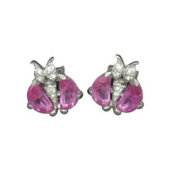 Trifari Demilune Moon Cut Pink Crystal Earrings