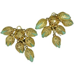 French 1950s Filigree Flower Drop Green Poured Glass Earrings