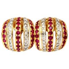 4.50 Carat Natural Red Ruby Diamond Earrings 14 Karat Bead Set Five-Row 3D