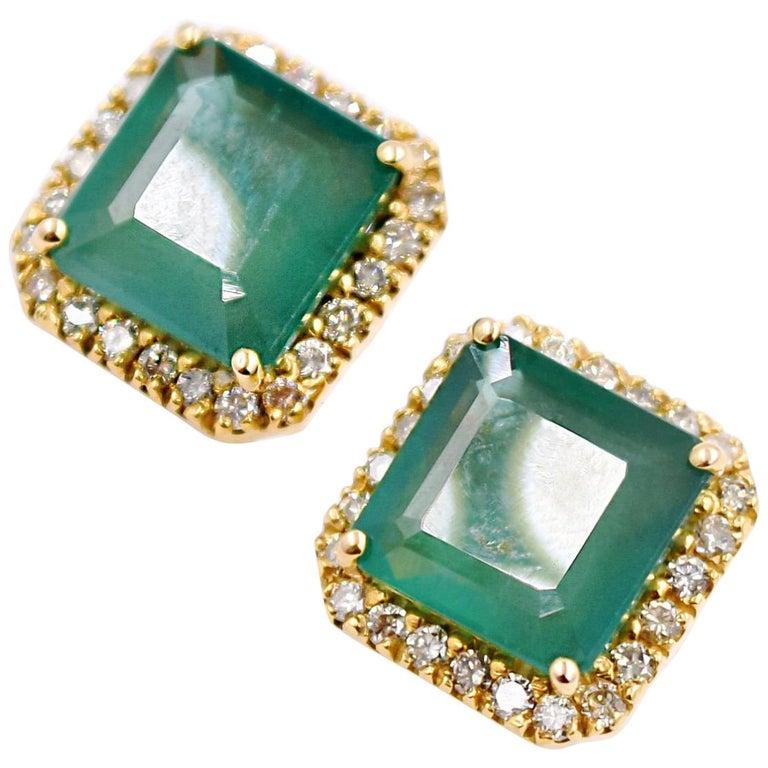 Princess Cut Emerald And White Diamond Earring Studs In 18 Karat Yellow Gold