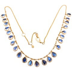 Kanwar Creations Cabochon Moonstone Necklace in 18 Karat Yellow Gold