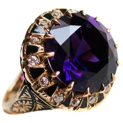 Amethyst Old European Cut Diamond Enamel Gold Ring