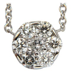 1.00 Carat Seven-Diamond Cluster Necklace g/vs 14 Karat