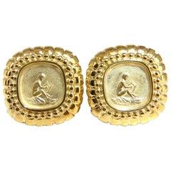 Designer Raafty Angel & Harp Gold Clip Earrings 14 Karat Omega