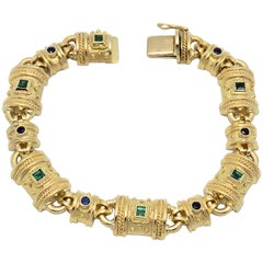 Emerald, Sapphire and Yellow Gold Bracelet