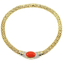 Coral Diamond 18 Karat Yellow Gold 1980s Necklace