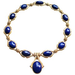 Lapis Lazuli Diamond and 18 Karat Gold Drop Necklace
