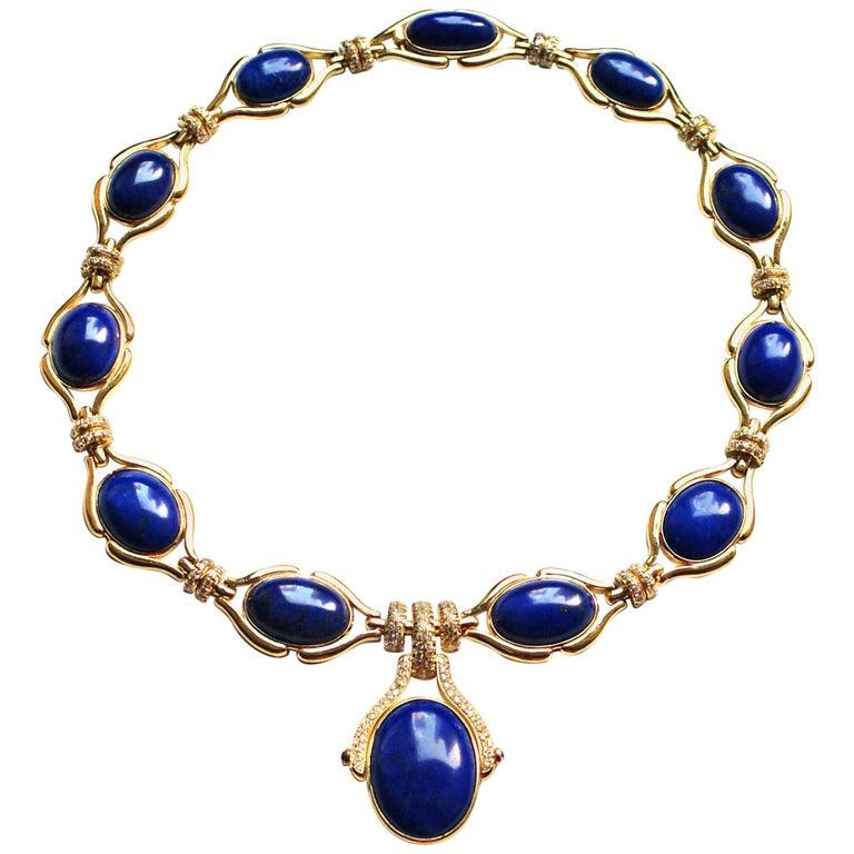 Lapis Lazuli Diamond and 18 Karat Gold Drop Necklace