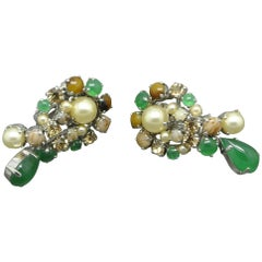 Christian Dior 1962 Green Brown Glass Earrings
