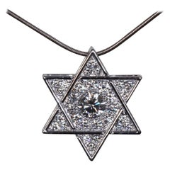 Jewish Star of David Diamond Pendant, Reversible, Platinum, Ben Dannie Design