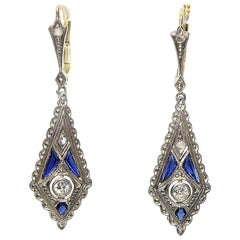 Antique Art Deco 18 Karat Gold Diamond and Sapphire Earrings