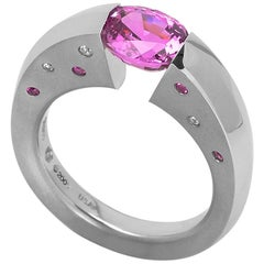 Steven Kretchmer Platinum Blade Ring with 2.16 ct. Tension-Set Pink Sapphire