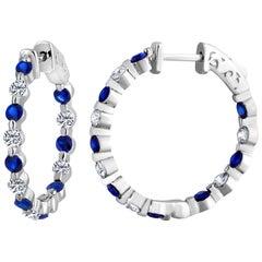 Emilio Jewelry 2.20 Carat Sapphire Diamond Hoop Earrings