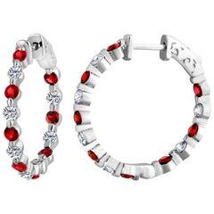 Emilio Jewelry Ruby Diamond Hoop Earrings