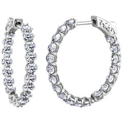 Emilio Jewelry 7.60 Carat Platinum Oval Shaped Diamond Hoop Earrings