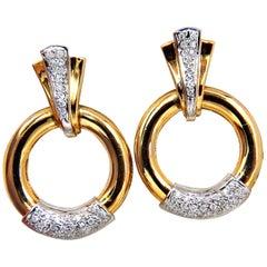 .80 Carat Natural Diamonds Circular Knocker Deco Earrings 14 Karat