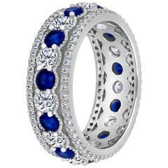Emilio Jewelry Alternating Sapphire Diamond Platinum Eternity Band