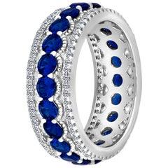 Emilio Jewelry Rich Blue Sapphire Diamond Eternity Band in Platinum