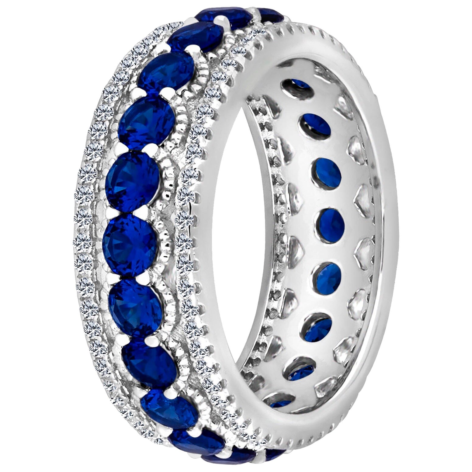 Emilio Jewelry Rich Blue Sapphire Diamond Eternity Band in Platinum