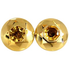 26.00ct Retro Mod Natural yellow golden citrine clip earrings 18kt puffer dome