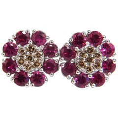 2.65 Carat Natural Fancy Color Diamonds Ruby Cluster Earrings 14 Karat