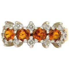 18 Karat, 2.27 Carat Natural Fine Gem Orange Sapphires Diamond Band Ring