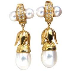 .50 Carat Natural Diamonds Pearl Dangle Earrings 18 Karat