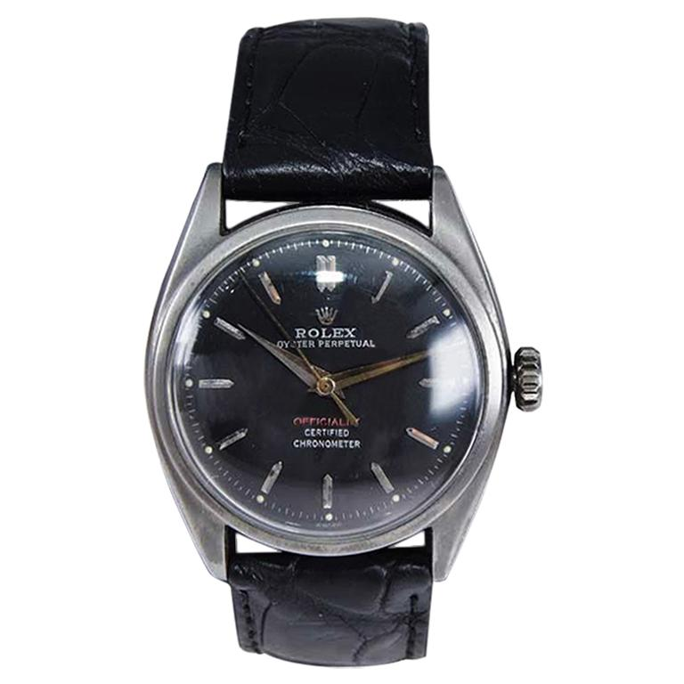 Rolex Steel with Black Dial and Super Oyster Crown from 1951 or 1952