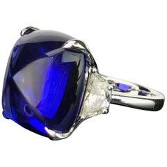 GIA Certified 26.32 Carat Sugarloaf Tanzanite and Diamond Three-Stone Ring
