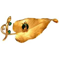 Beetle on Leaf 14 Karat Natural Emerald and Diamond Brooch Pin 3D