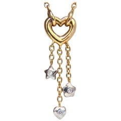 .50 Carat Open Heart Diamonds Dangle Necklace 14 Karat G/Vs Stars and Heart