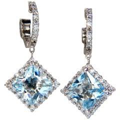5.26ct NATURAL AQUA BLUES DIAMOND DANGLE EARRINGS 14KT CLUSTER HALO HOOP
