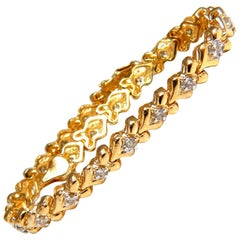1.00 Carat Natural Diamonds Heart-Link Bracelet 14 Karat