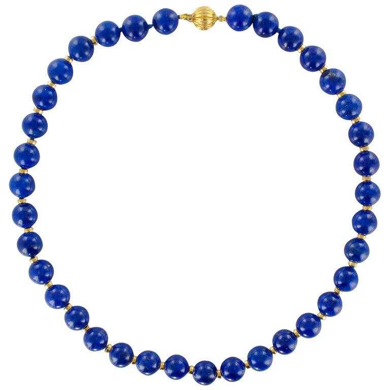 New Lapis Lazuli Pearls 18 Karat Yellow Gold Discs Chocker Necklace