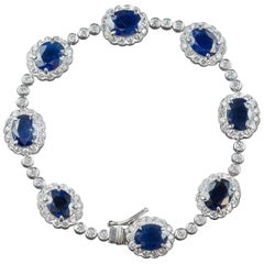Antique Edwardian Sapphire Diamond Bracelet 18 Carat Gold, circa 1910