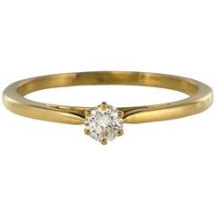 18 Karat Yellow Gold 0.17 Carat Diamond Solitaire Ring