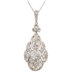 1920s Antique Art Deco 0.98 Carat Diamond and Yellow Gold Pendant