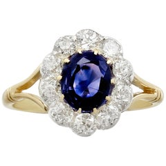 Antique 1.90 Carat Sapphire and Diamond Yellow Gold Engagement  Ring