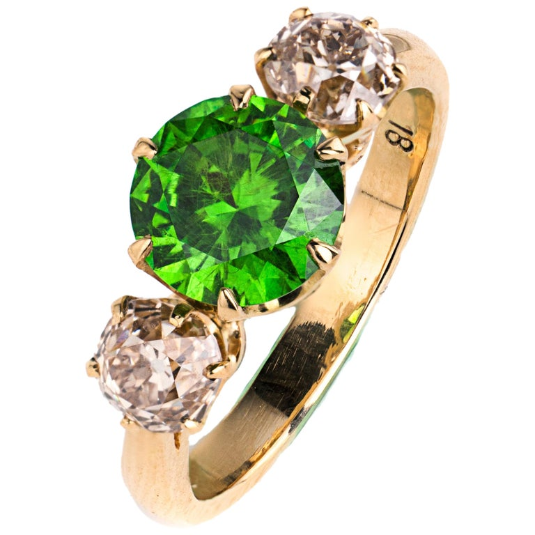 Russian Demantoid Garnet and Diamond 18 Karat Gold Ring