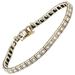 Art Deco 14 Carat White Gold Diamond Tennis Bracelet