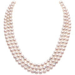 Yoko London Three-Row Akoya Pearl and Diamond Necklace in 18 Karat White Gold