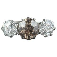 Antique Edwardian Brown Diamond Trilogy Ring Platinum, circa 1910