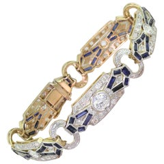 Art Deco Old Cut Diamond and Baguette Cut Sapphire Bracelet