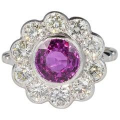 Art Deco 2.0 Carat Natural Ceylon Pink Sapphire 1.50 Carat G VVS Diamond Platinu