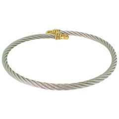 Fred of Paris 'Force 10' 18 Karat Gold and Steel Cable Choker Necklace