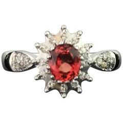 Orange Sapphire and Diamond 14 Karat Gold Ring