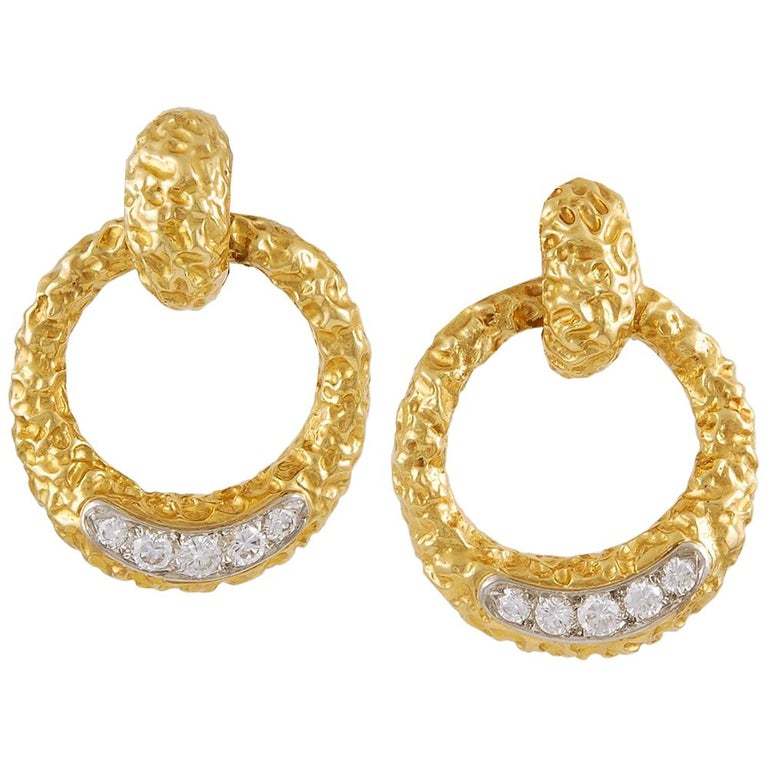 M.Gerard Paris Diamond Hammered Gold Earrings