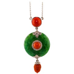 Mediterranean Red Coral 0.31 Carat White Diamond Jade White Gold Necklace