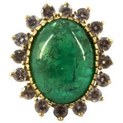2.80 Carat White Diamond 16.00 Carat Zambia Emerald Yellow Gold Cocktail Ring