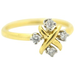 Tiffany & Co. Schlumberger Studios Diamond Platinum and Gold 18 Karat Lynn Ring